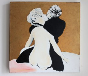 The kiss - gold - 30x30cm oil on canvas with goldleaf